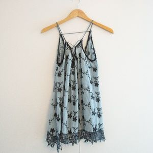 Strappy Long Flowy Top with Crochet Lace